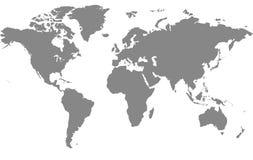 灰色映射世界 免版税库存图片
