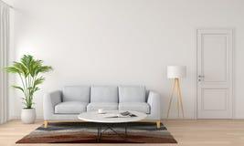 灰色沙发和灯在白色客厅, 3D翻译 向量例证