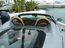 灰色法拉利360 Spyder敞篷车关闭在西班牙 库存图片