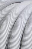 灰色波纹状的塑料管道 库存照片
