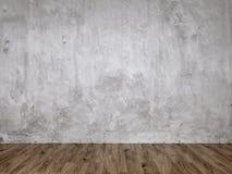 灰色灰泥混凝土墙和木地板 免版税图库摄影