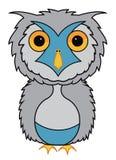 灰色猫头鹰动画片例证传染媒介 免版税库存图片