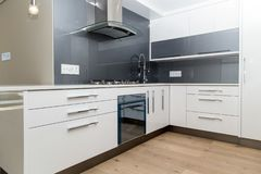 灰色白色现代厨房 库存图片