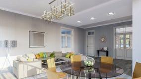 灰色的现代明亮的客厅定调子3d例证 库存图片