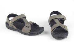 灰色皮革凉鞋 库存照片