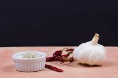 灰色盐、干红辣椒和大蒜在萨尔提略瓦片 免版税库存照片