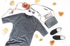 灰色礼服,太阳镜,鞋子,与化妆用品的袋子,葡萄酒camer 库存照片