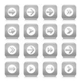 灰色箭头标志环绕了方形的象网按钮 库存照片