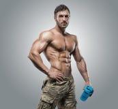 灰色背景的肌肉运动员爱好健美者人 库存图片
