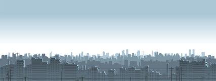 灰色蓝色城市剪影 免版税库存照片