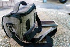 灰色袋子 免版税库存照片