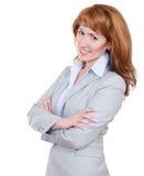 灰色诉讼的新可爱的女商人 库存图片