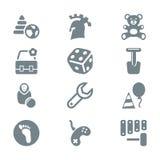 灰色象集合儿童玩具和比赛 免版税库存照片
