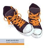 灰色运动鞋 库存图片