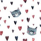 灰色逗人喜爱的猫亲吻,许多一点心脏,无缝的样式 皇族释放例证