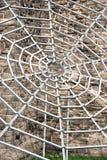 灰色金属spiderweb 免版税库存照片