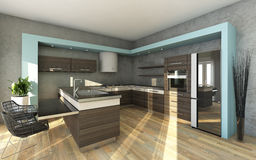 灰色颜色的现代厨房 免版税图库摄影