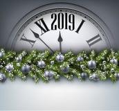 灰色2019与时钟的新年背景 2007个看板卡招呼的新年好 皇族释放例证