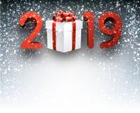 灰色2019与礼物盒的新年背景 库存例证