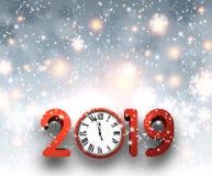 灰色2019与红色时钟和雪的新年背景 向量例证