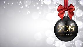 灰色2019与黑圣诞节球的新年背景 向量例证