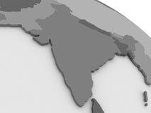 灰色3D地图的印度 免版税库存图片