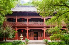 灵隐寺,杭州,中国祷告大厅  库存图片