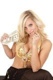 灵魔贪婪暂挂货币妇女 免版税库存图片