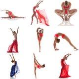 灵活的女孩跳舞照片拼贴画在演播室 库存图片