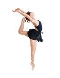 年轻灵活的舞蹈家女孩被隔绝 免版税库存图片