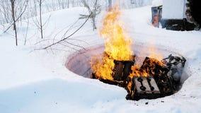 灼烧的事本质上在冬天 夹子 受控火在森林里在冬天 股票录像