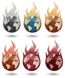 灼烧的地球纸张回收了 库存照片