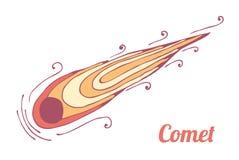 灼烧的彗星飞行 空间和航天学题材  向量 库存照片
