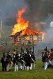 灼烧的房子 图库摄影