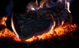 灼烧的木登录火炉 库存图片