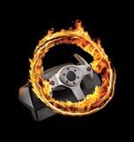 灼烧的比赛轮子 免版税库存照片