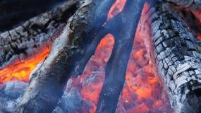 灼烧的火木头和炭烬 免版税库存图片