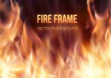 灼烧的火框架 传染媒介火热的背景 免版税图库摄影