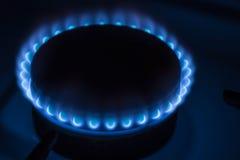 灼烧的燃烧器煤气炉在家 图库摄影