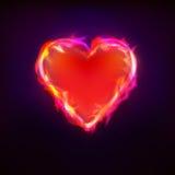 灼烧的爱当在火图形设计的心脏标志 免版税库存图片
