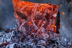 灼烧的特写镜头采煤 免版税图库摄影