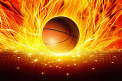 灼烧的篮球 库存图片