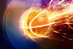 灼烧的篮球 库存照片