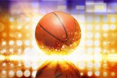 灼烧的篮球 免版税库存照片