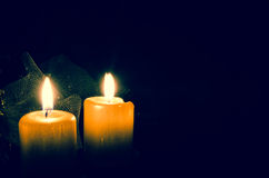 灼烧的蜡烛二 库存照片