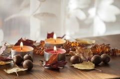 灼烧的蜡烛和北赤栎和琥珀色的项链干燥秋叶和橡子  图库摄影