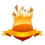 灼烧的象征盾 库存照片