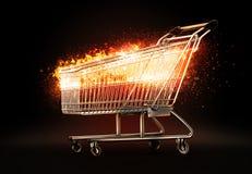 灼烧的购物车 3d例证 库存照片
