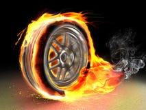 灼烧的轮子 库存图片