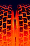 灼烧的轮胎 库存照片